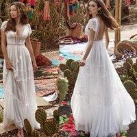 chiffon wedding dress boho sexy deep v neck a line short cap sleeve floor length backless lace crystal vestidos de novia
