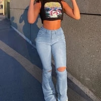 women vintage ripped flare bell bottom jeans high waisted wide leg raw hem denim pants casual slim fitting trousers with pocket