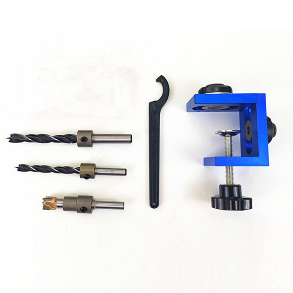Woodworking Three-In-One Punch Locator Hole Opener Boring Puncher Wood Tenon Puncher Woodworking Drill Guide Kit Tools