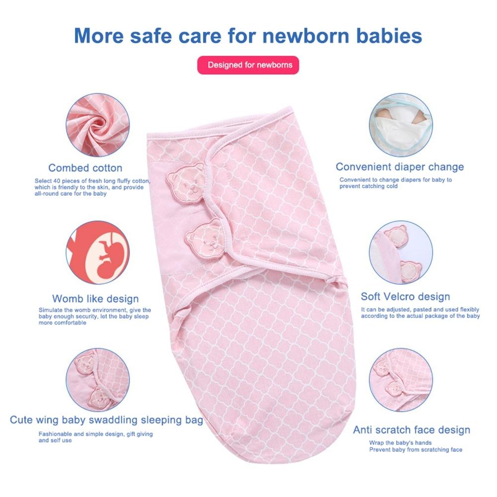 2020 Newborn Baby Swaddle Wrap Adjustable Sleep Sack Bag Soft Cozy Printed Swaddle Blanket Sleeping Bags For Unisex Baby 0-6M