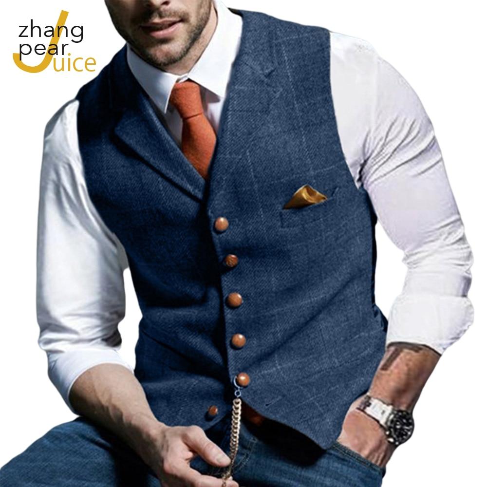 Винтажные мужские жилет мужской деловой жилет, костюм жилет куртка повседневное Slim Fit Homme жилеты для мужской одежды