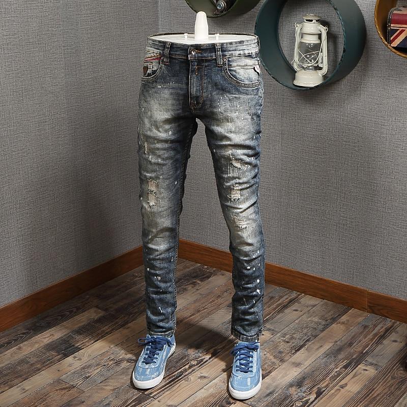Итальянский Стиль модные мужские джинсы для женщин в стиле ретро серо-синие джинсы с эластичной резинкой на Slim Fit рваные, потертые джинсы ро...