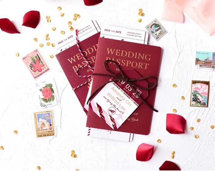 High Quality 50pcs/lot Wedding Invitation Passport And Ticket Invitation Cards Custom Invitation