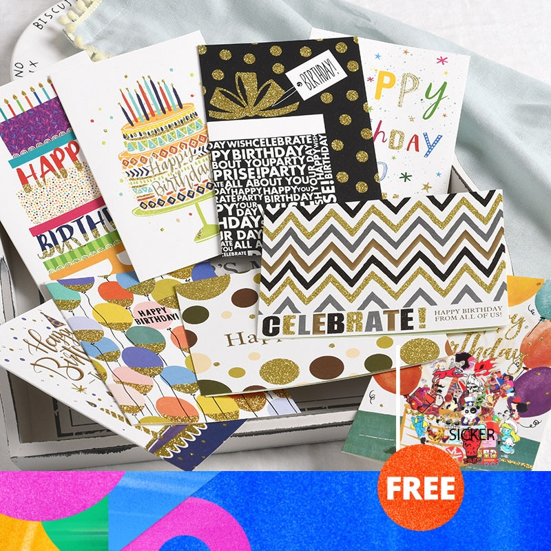 Carte de vœux à paillettes 12.5x17.5cm   Cartes postales de joyeux anniversaire pour fille et enfant, carte de vœux pour anniversaire de mari