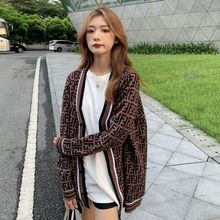 2021 Spring And Autumn New Korean Jacquard V-Neck Color Matching Trendy Knitted Cardigan Sweater All