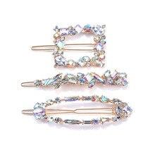 3 pièces de luxe AB cristal strass ZA épingles à cheveux bijoux de cheveux femmes géométrique longue pince à cheveux femme fête Club chapeaux Barrettes