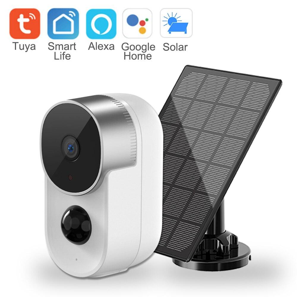 Tuya IP كاميرا في الهواء الطلق للطاقة الشمسية 10000mAh بطارية كاميرا مراقبة مع واي فاي للرؤية الليلية اتجاهين الصوت AI كاميرا مراقبة للمنزل