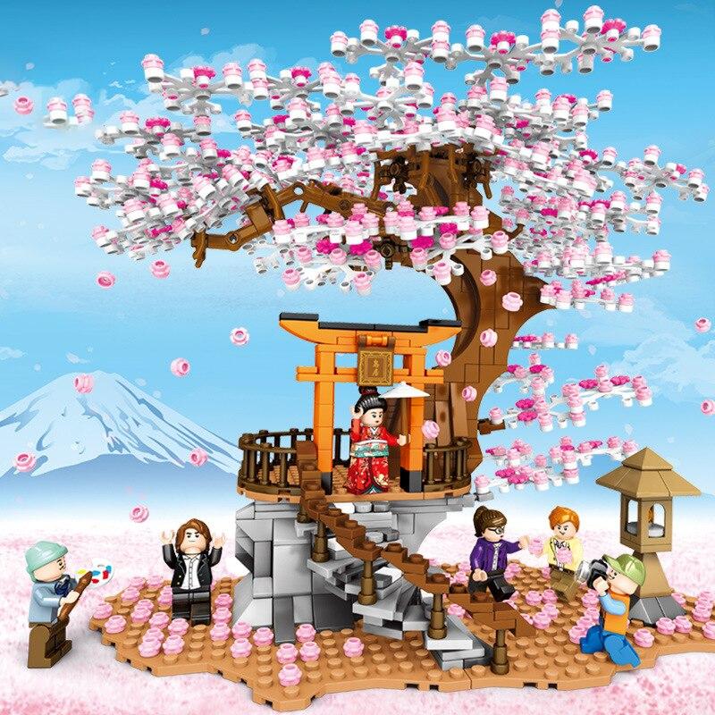 1167 pçs pequenas partículas blocos de construção para crianças brinquedos educativos montados sakura street view brinquedos para crianças