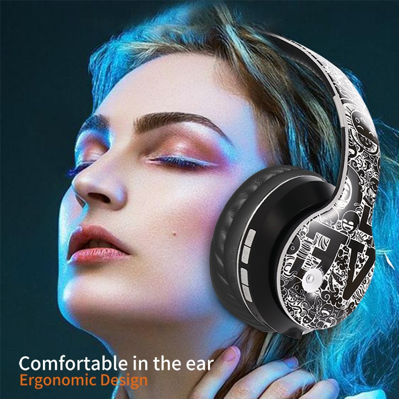Wireless Headphones Bluetooth Graffiti Headphones With Microphone PC Mobile Phone Stereo HIFI Sound for TF Card FM Radio enlarge