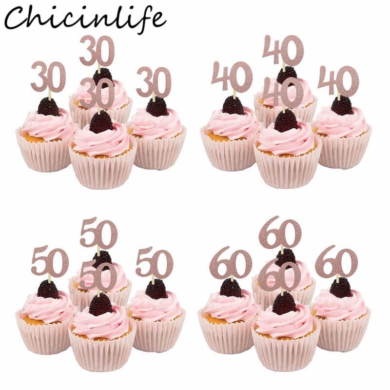 Chicinlife 10 Uds Rosegold/Gold Silver 30th 40th 50th 60th Cupcake Toppers Feliz cumpleaños fiesta aniversario adulto accesorio para tarta