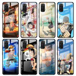 Caso de vidro temperado coque para samsung galaxy s10 s20 ultra 5g s8 s9 s10 s20 mais nota 10 plus capa telefone uma peça luffy ace