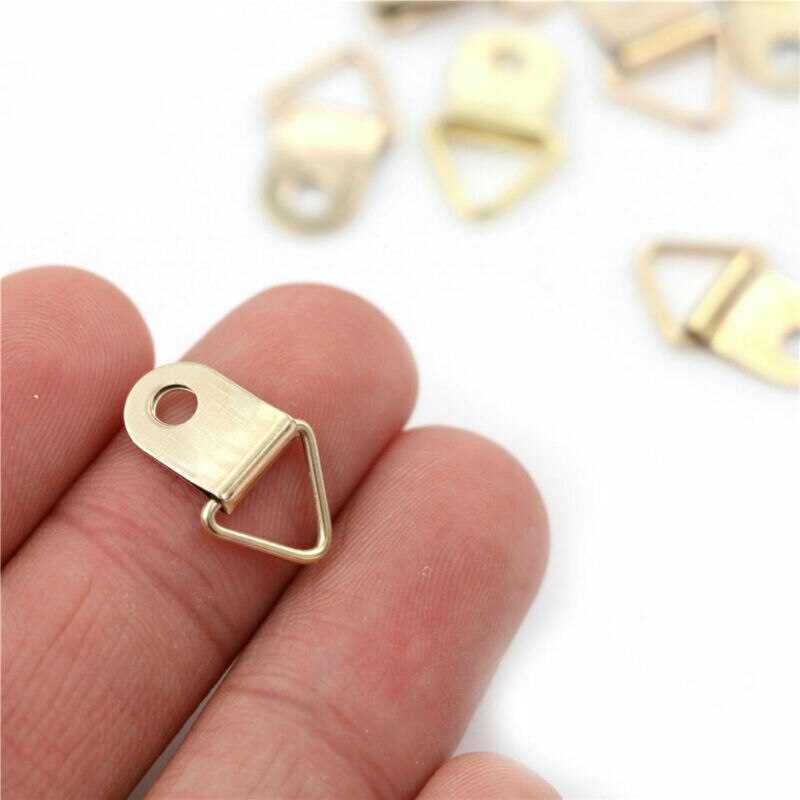 100Pcs Mini Gouden Driehoek D-Ring Foto Fotolijst Haak Hanger 10X22Mm Flhxn