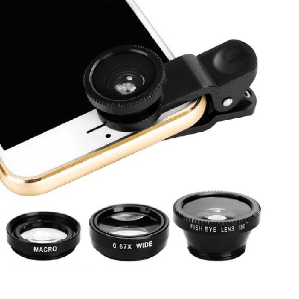 3-in-1 Wide Macro Angle  Fisheye Lens Camera Kits Mobile Phone Fish Eye Lenses with Clip 0.67x for i