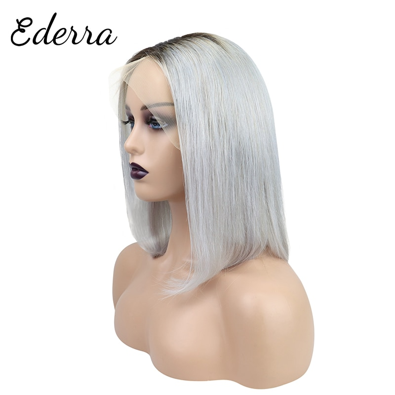 Short Bob Human Hair Lace Wig 10 12 14 Inch Gray Color Short Straight Wigs For Black Women Wigs Hair 13X4 Lace Front Wig