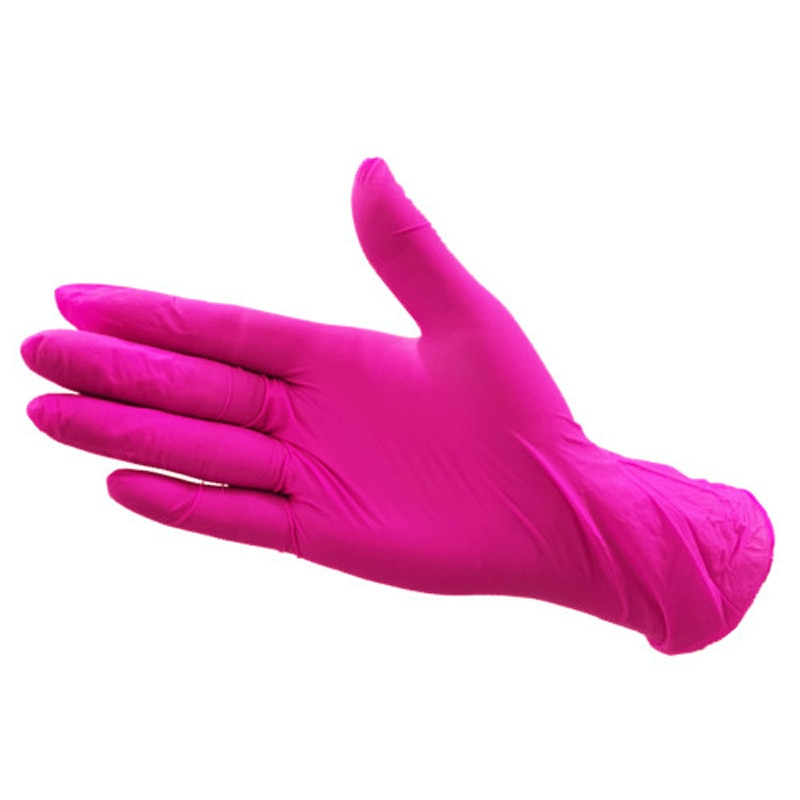 100pcs disposable latex gloves clean left and right general rose red dingqing makeup food processing disposable gloves enlarge