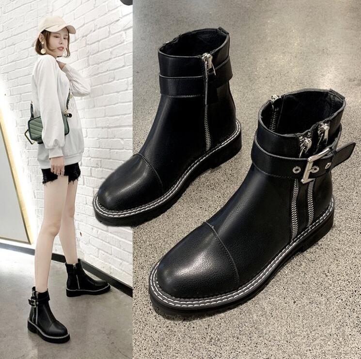 Botines Mujer Zapatos Mujer botas moda cremallera hebilla punta redonda botas 2019 otoño nueva PU negro botas planas cómodas X372