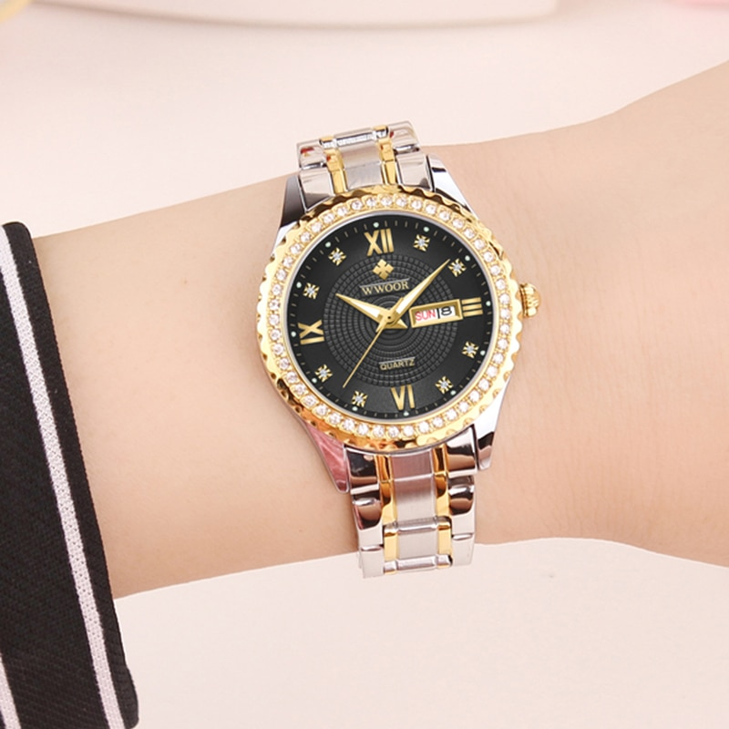 WWOOR Brand Fashion Men and Women Quartz Watch For Gift Luminous Calendar Clock Men Watches Diamond Stainless Steel Love Watches enlarge