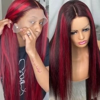 lace front human hair wigs t part lace wig ombre red highlight straight brazilian remy human hair 13x4 lace front wigs for women