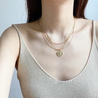 pure silver head round light chain of luxury brand multilayer exaggerated necklaces female clavicle small adorn article