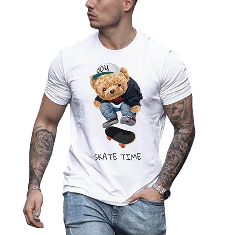 Cartoon cartoon cartoon print t-shirt men's fashion casual short sleeve, men's fitness t-shirt super men's wear short sleeve cartoon eagle and american flag print t shirt