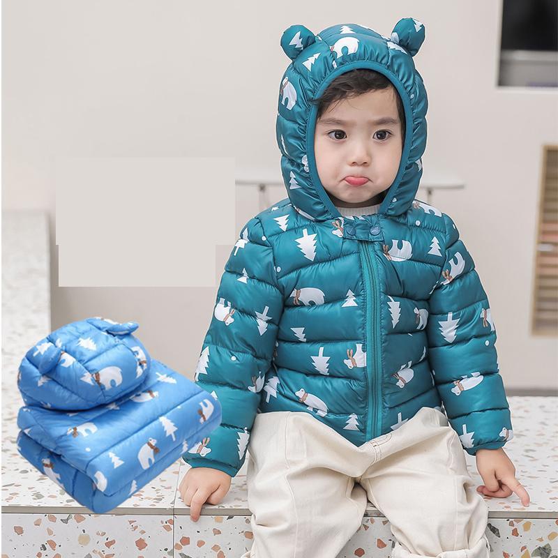 2019 de los niños abajo ligero Chaqueta de algodón chaqueta de bebé niños cremallera ropa invierno grueso Ultra ligero acolchado abrigo