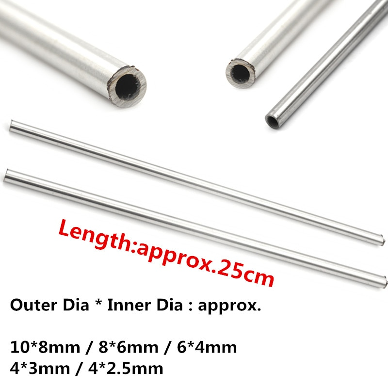 1pc 250mm 304 Seamless Stainless Steel Capillary Tube 10mm 8mm / 8mm 6mm / 4mm 3mm / 6mm 4mm / 4mm 2.5mm
