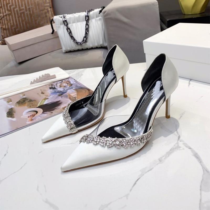 صيف 2021 جديد أحذية مستدقة المرأة عالية الكعب ضوء الفم بلون الماس رئيس كعب رقيقة مأدبة أحذية الزفاف