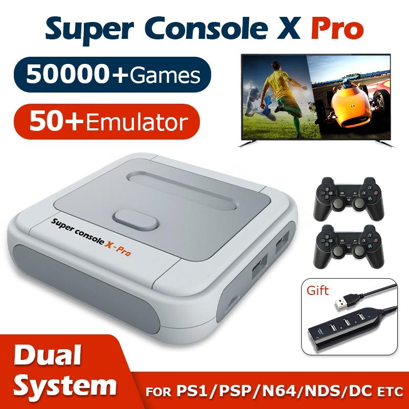 ريترو لعبة فيديو لوحات المفاتيح سوبر وحدة التحكم X برو واي فاي 4K HD ل PSP/PS1/N64/تيار مستمر ألعاب التلفزيون المصغرة اللاعبين مع 50000 + ألعاب 50 + محاكي