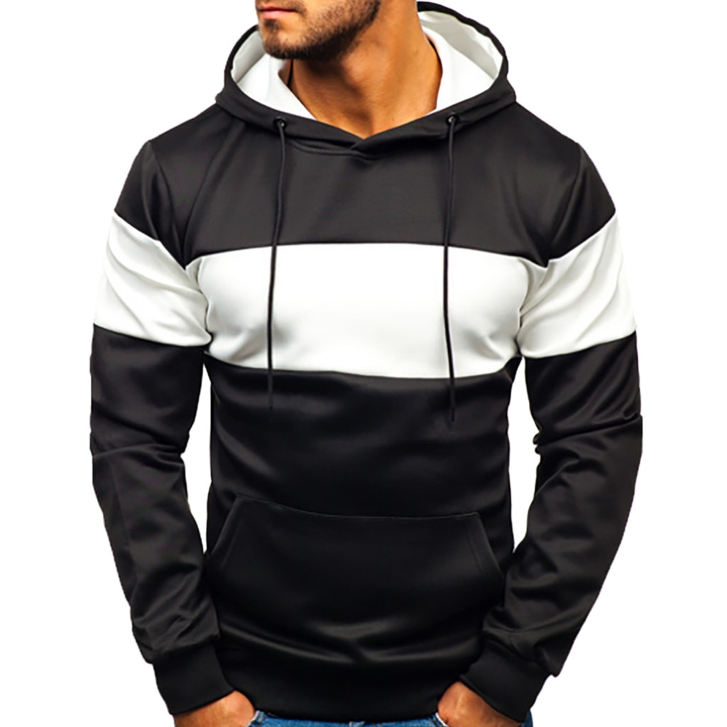 KANCOOLD Pocket Patchwork Hooded Cardigan for Men Slim Fit Hoodie Coat Men Casual Long Sleeve Sweatshirts Male Jackets 89