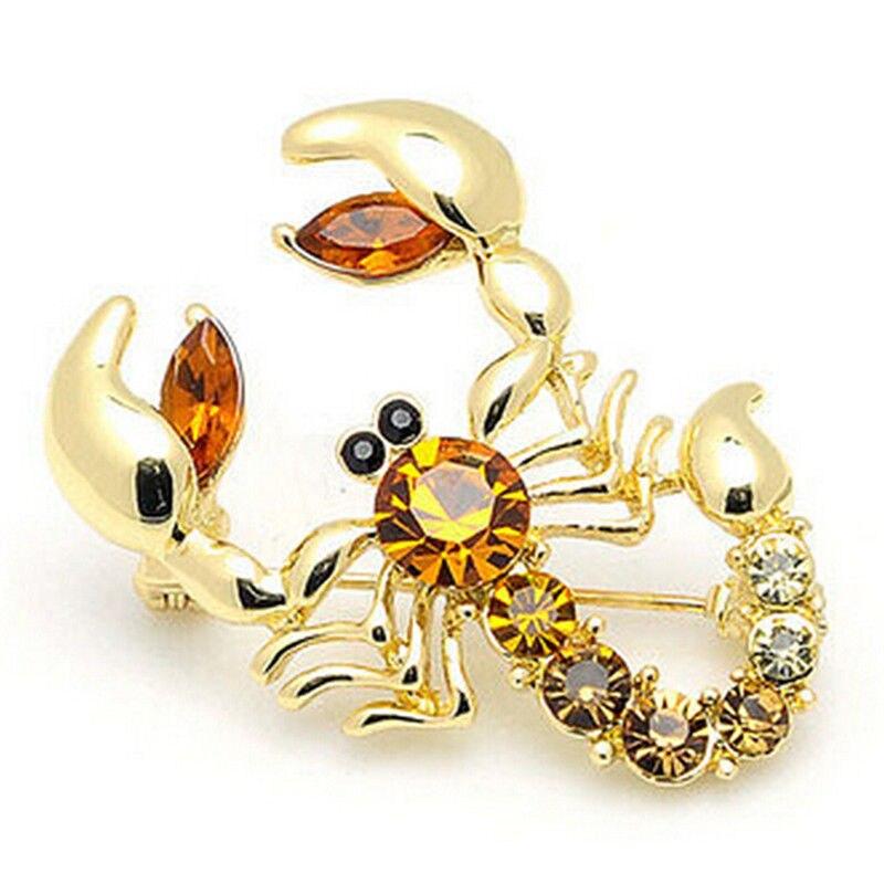 Imitación Diamante de imitación prenda joya broche nupcial boda imitado cristal escorpión Broche de insectos esmalte Pin Metal solapa Pin