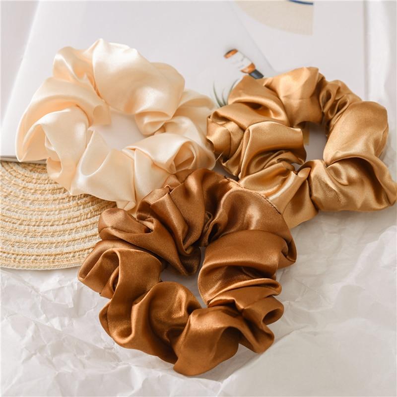 1pc satin sutera warna solid scrunchies tali rambut elastik, aksesori - Aksesori pakaian - Foto 1
