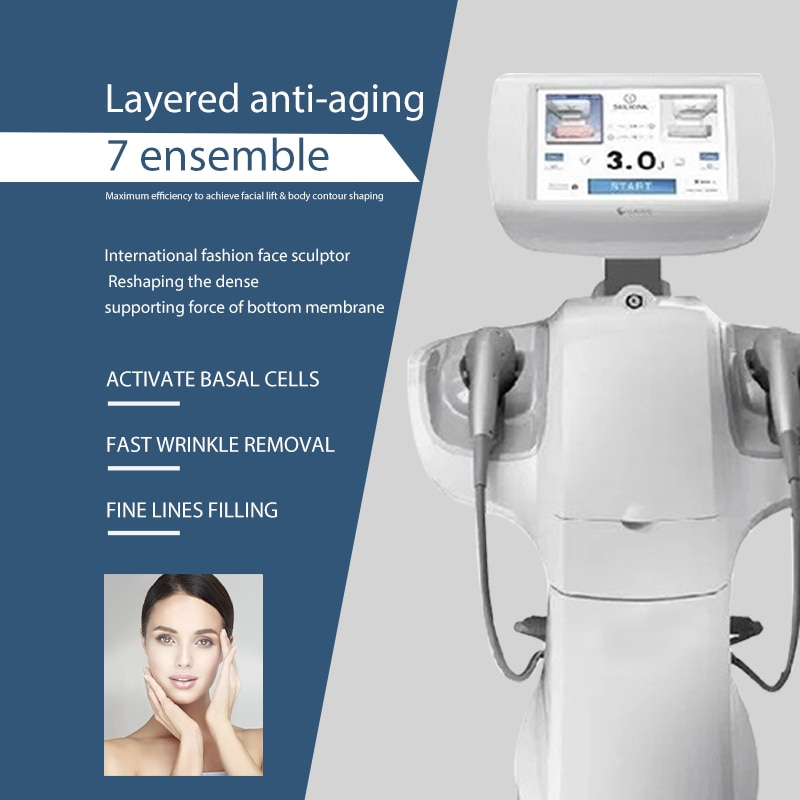 Free shipping 7D v max Anti Aging skin tightening device Ultrasound wrinkle removal Cartirdges face