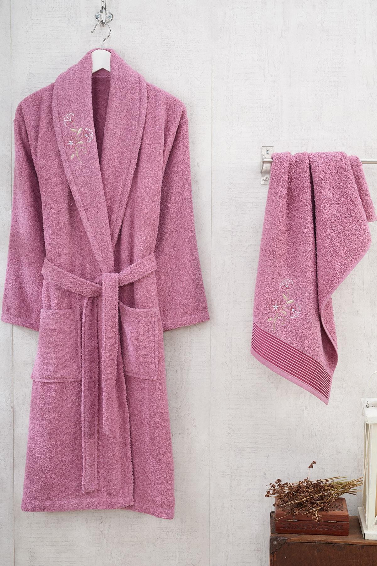 2 Piece Women 'S Towel Bathrobe Set Plum Red 100% Cotton Soft Maximum Absorbency