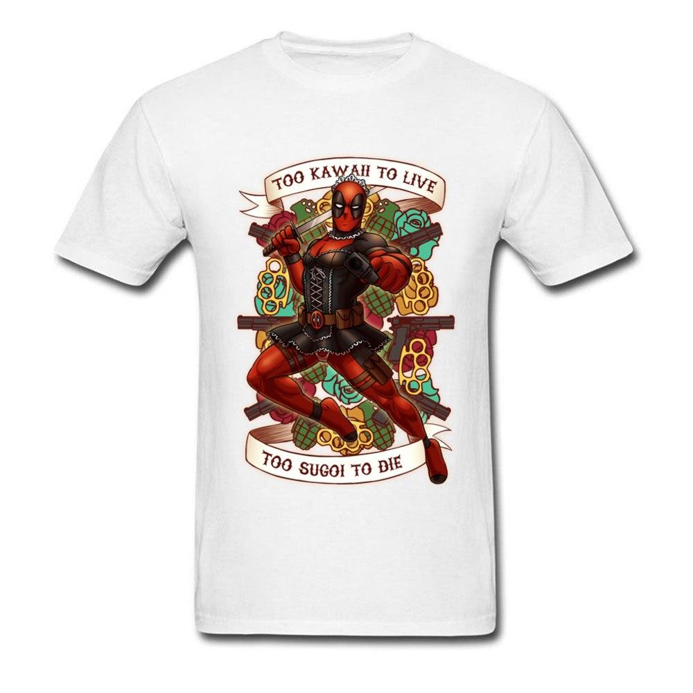 Camiseta divertida para hombre Too Kawaii To Live Too Sugoi To Die Deadpool, Camiseta 100% de algodón con cuello redondo, camisetas de manga corta, Marvel Maid