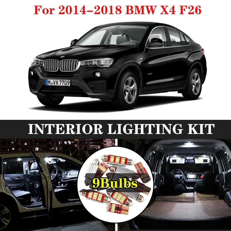 ZXCXZ 9pcs Car Interior White LED Light Bulb Kit for 2014-2018 BMW X4 F26