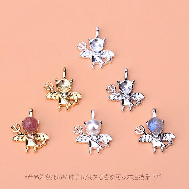 S925 Sterling Silver Devil Batpendant , empty drop bead support pendant, handmade diy necklace pendant accessories