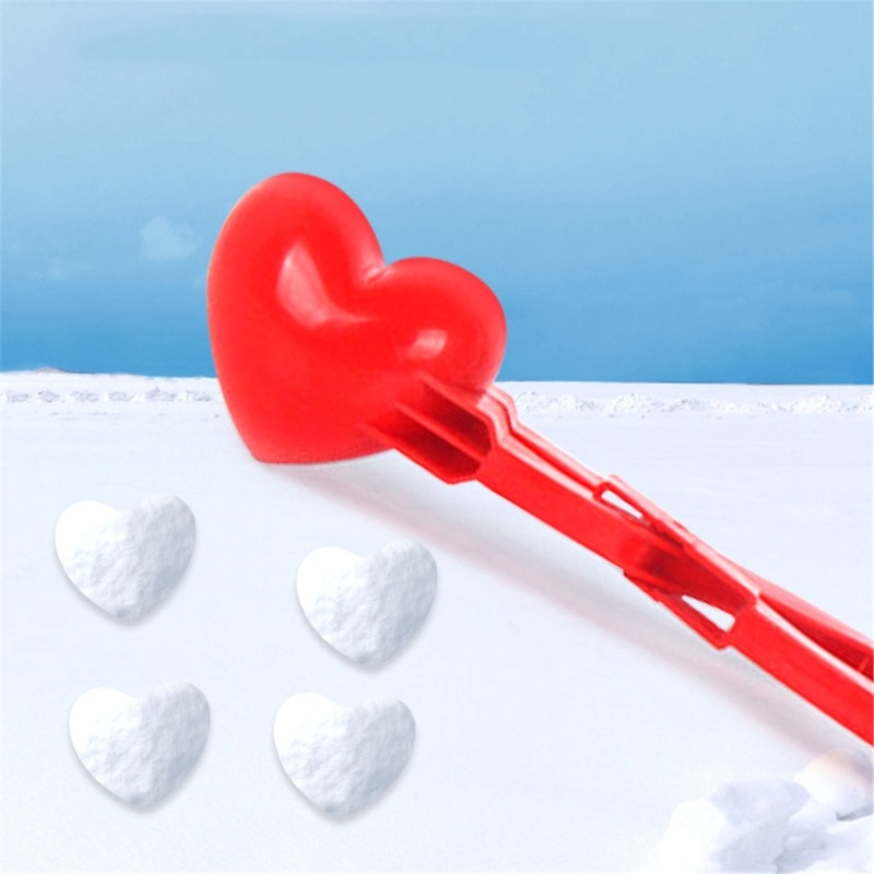 Сердце Форма Снег Снежок Maker Клип Maker Снег Песок Плесень Инструмент Зима Дети Дети Кукла Игрушки Для Дети Девочка Мальчик