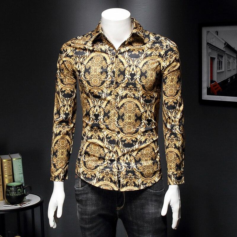 قميص رجالي ماركة مصمم 2021 موضة جديدة نمط الأزهار قميص رجالي ملابس طويلة الأكمام الذكور 4XL 5XL S003