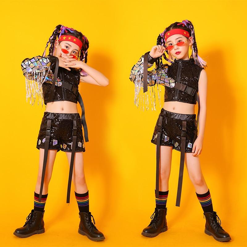 موضة شارع الرقص أداء الملابس للفتيات الصيف الليزر الترتر شرابة الهيب هوب الجاز الرقص المرحلة طقم ملابس YS2041