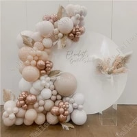 127 pieces of white double apricot cream peach rose gold balloon wreath wedding decoration balloon arch set birthday baby shower