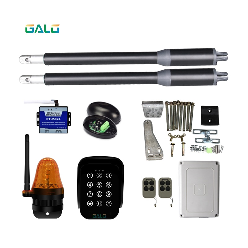 solar automatic swing gate opener motor dual arm opener operator linear actuators with remote controls Optional automatic swing door gate opener electric double arm opener operator linear actuator with remote control warning light optional