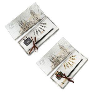 Ручка перьевая с чернильными наконечниками, винтажная каллиграфия на английском языке, набор офисных и школьных принадлежностей, подарок