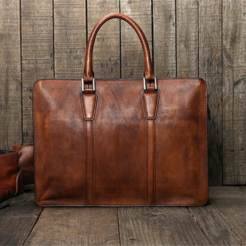 Simple casual natural genuine leather men's large-capacity portable briefcase retro ladies work lawyer shoulder messenger bag