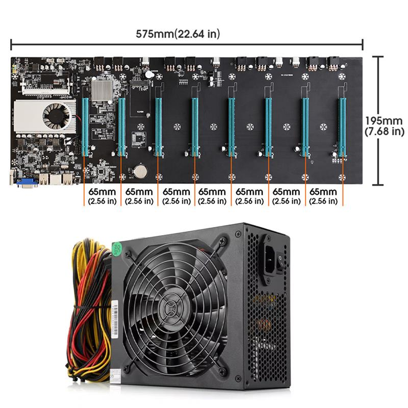 BTC-S37 Mining Machine Motherboard CPU Set 8 PCIE 16X Graphics Card SODIMM DDR3 SATA3.0 VGA + HDMI-Compatible 1850W Power Supply