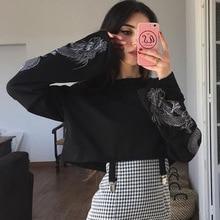 Gothic Black Sexy Women O-Neck Loose Long Sleeve Loong Printing Crop Tops 2020 Summer Goth Female Streetwear Dark Short T-shirt