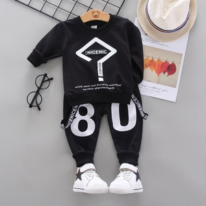 Baby boy clothes boys spring and autumn new question mark printed cotton sweater trousers casual two-piece suit baby boy suit