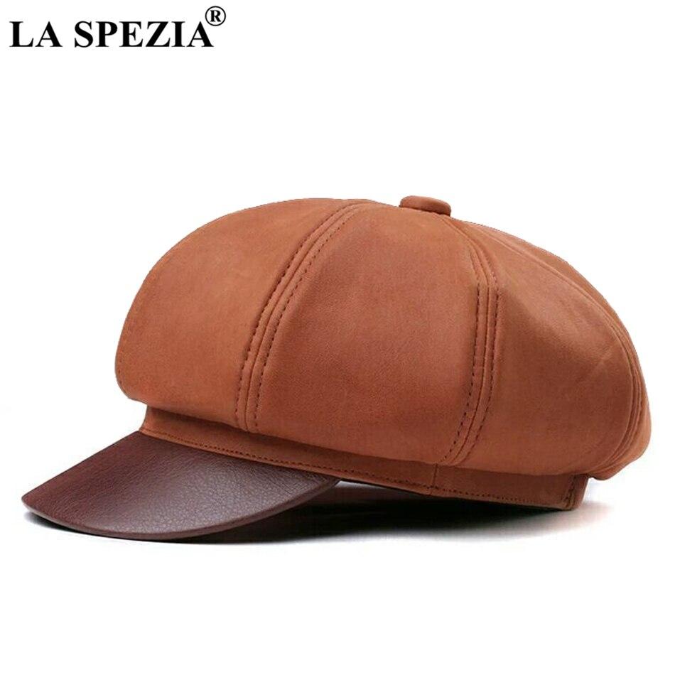 لا سبيزيا-قبعة مثمنة من الجلد الطبيعي للرجال والنساء ، قبعة موزع الصحف ، أغطية كلاسيكية من الجلد الطبيعي الفاخر من ثمانية قطع
