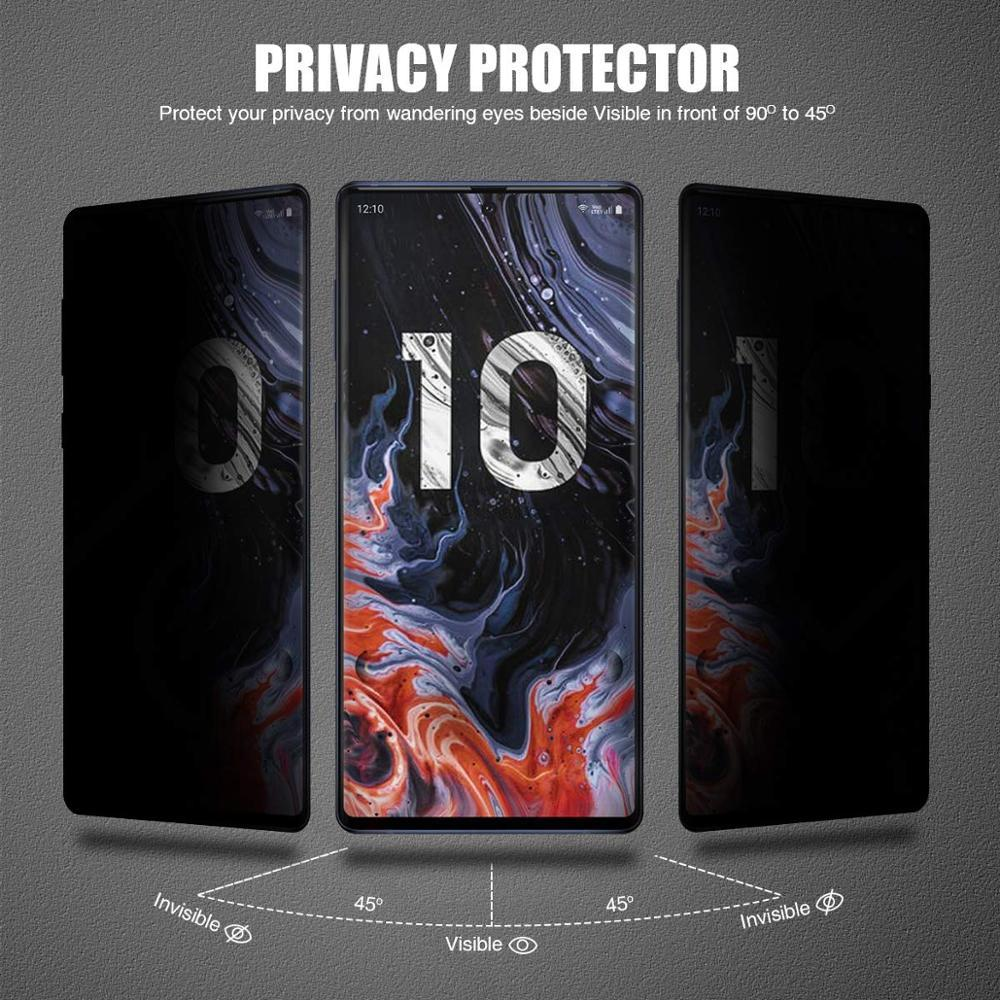 9 h 3d cobertura completa privacidade vidro temperado para samsung galaxy note 8 9 10 pro s8 s9 s10 plus anti brilho protetor de tela filme vidro