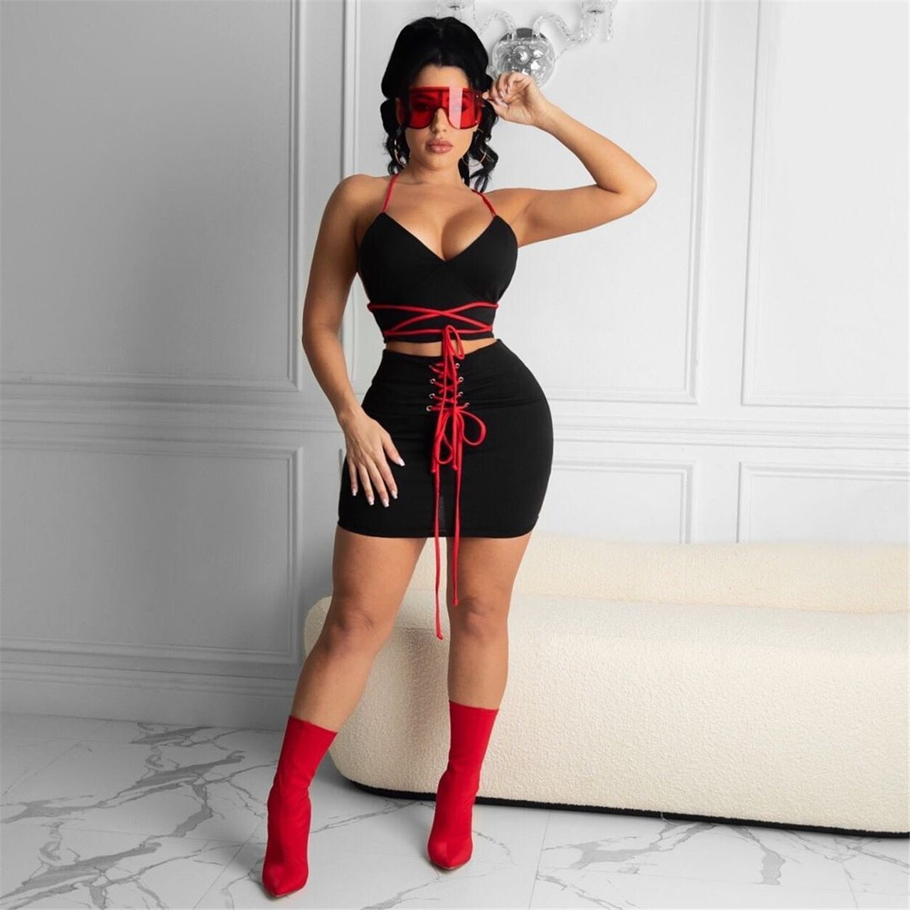 Adogirl 2021 Summer Two Piece Set Woman Halter Back Lace Up Croset Top And Cross Bandage Mini Skirt Casual Streetwear Outfits knot back halter top