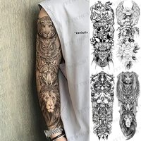 lion king waterproof temporary tattoo sticker rose crown large arm sleeve tattoo wild wolf tiger art full animal totem tatoo men